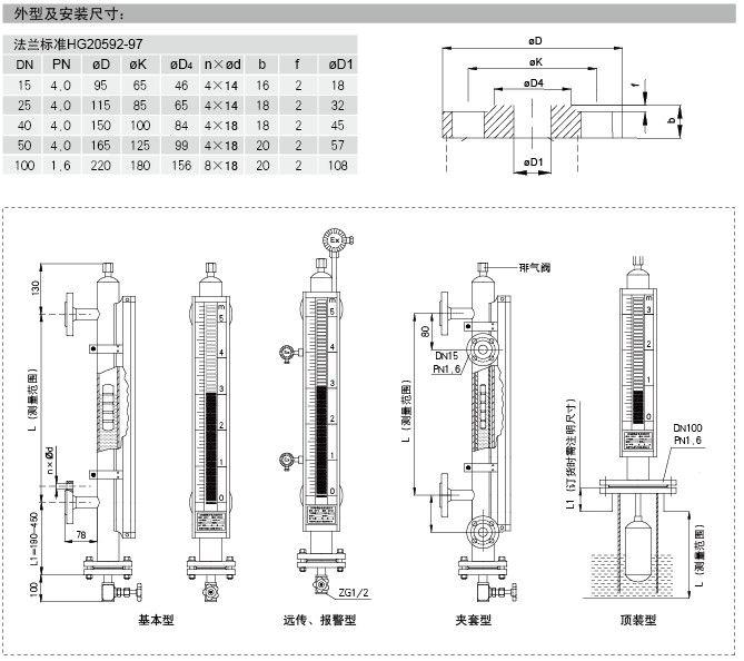 磁翻板液位计-磁性浮子液位计接线图安装图纸